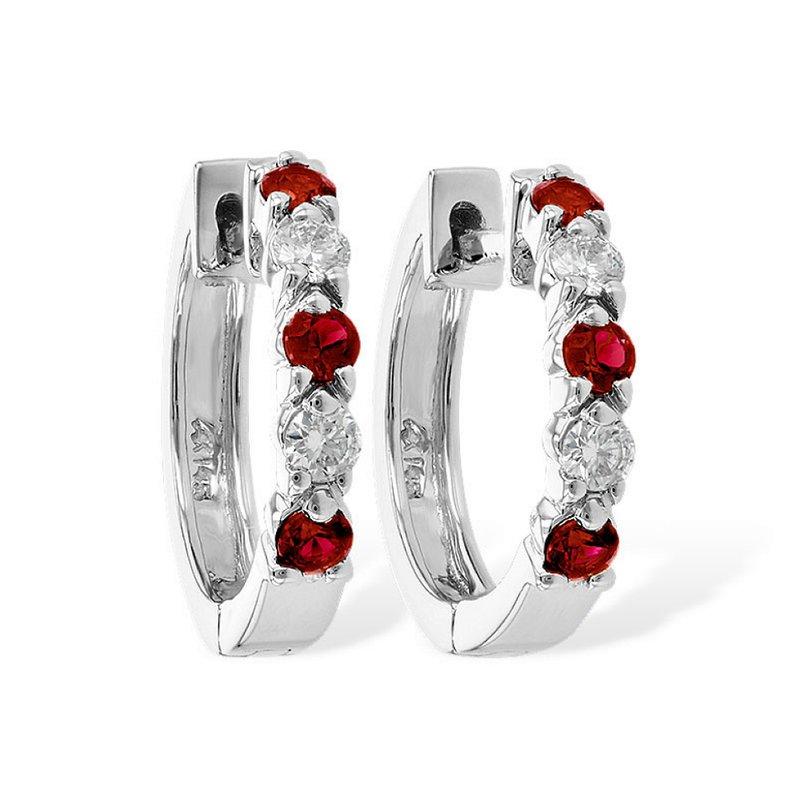King's Ruby and Diamond Hoop Earrings