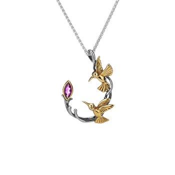 """Hummingbird"" Sterling & 10kt Gold Pendant with Rhodolite Garnet"