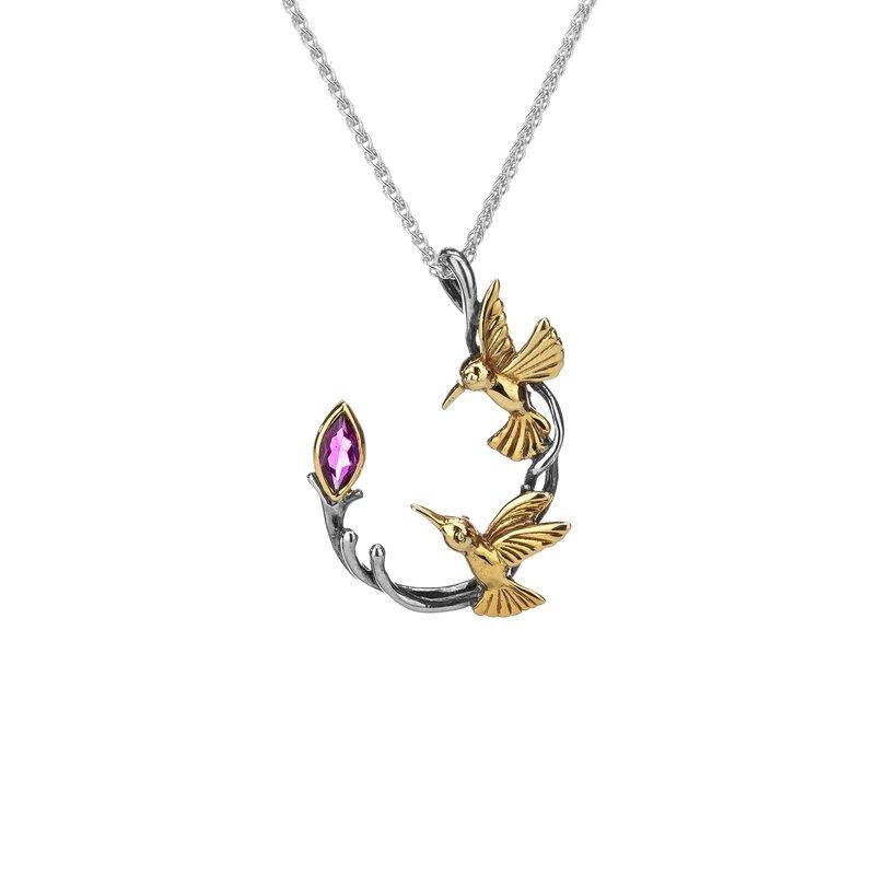 "Keith Jack ""Hummingbird"" Sterling & 10kt Gold Pendant with Rhodolite Garnet"