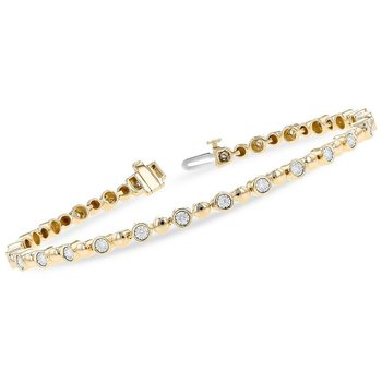 Bubble Link Bracelet with Diamonds