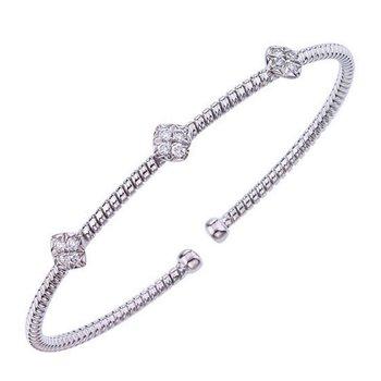 18kt Cuff Bracelet with Diamond Stations