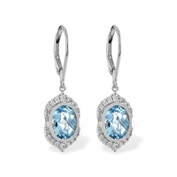 Aquamarine and Diamond Dangle Earrings