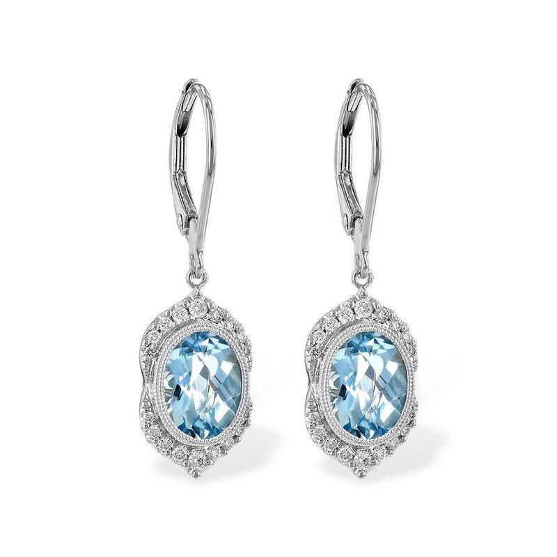 King's Aquamarine and Diamond Dangle Earrings