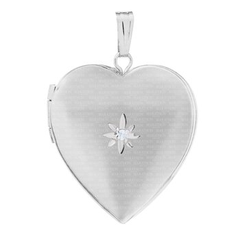 "Sterling Heart Locket w/Diamond on 18"" Chain"