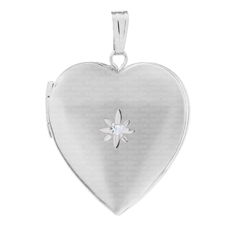 "King's Children Sterling Heart Locket w/Diamond on 18"" Chain"