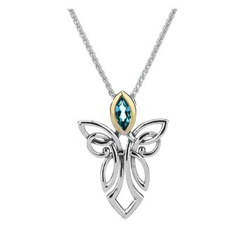 """Angel w/Blue Topaz"" Sterling & 10kt Small Pendant"
