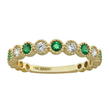 Emerald and Diamond Band Bezel Set