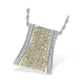 "Pendant with Yellow & White Diamonds 18"" Chain"
