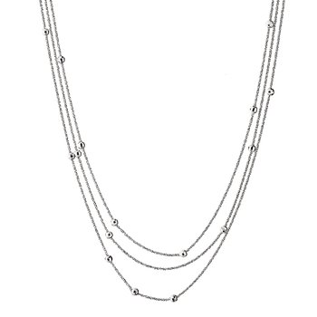 Sterling Silver Triple Strand Bead Chain 17""