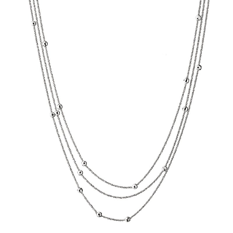 King's Sterling Silver Triple Strand Bead Chain 17""