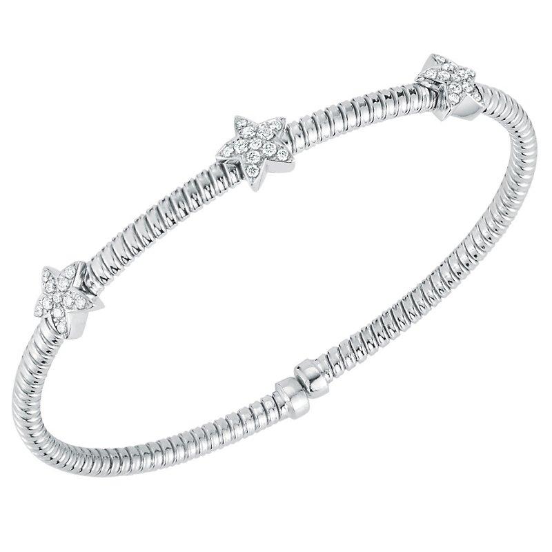 """King's 18kt Cuff Bracelet w/3 """"Star"""" Stations .30tw"""
