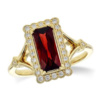 14kt Yel Garnet and Diamond Ring