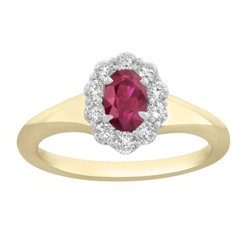 18kt Yel & Wht Oval Ruby & Diamond Ring