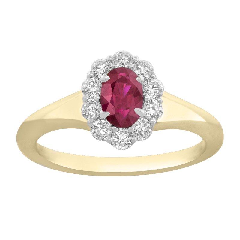 King's 18kt Yel & Wht Oval Ruby & Diamond Ring