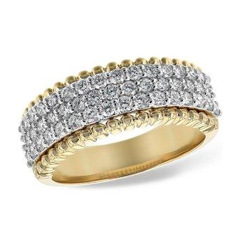 Diamond Pave Ring Yellow Gold Edge 1.00tw   #040190