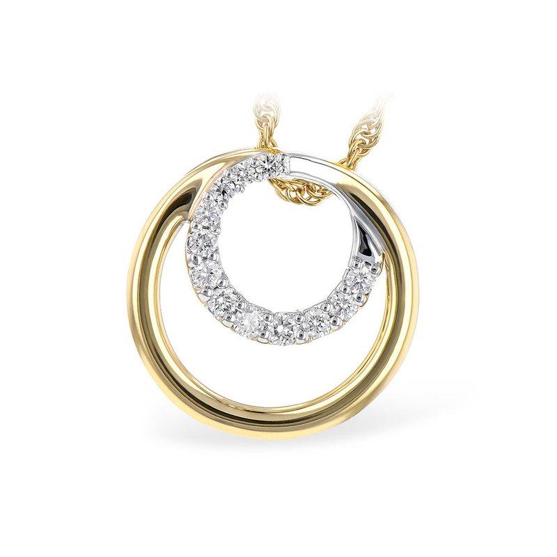 King's 14kt Yel/Wht Pendant with 12 Diam Circle =.15tw