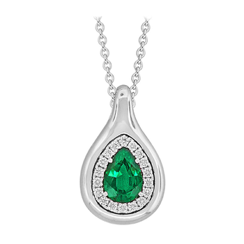 PearShape Emerald and Diamond Pendant