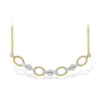 14kt Yel/Wh Necklace Rope Links with Diamond Stations 18""