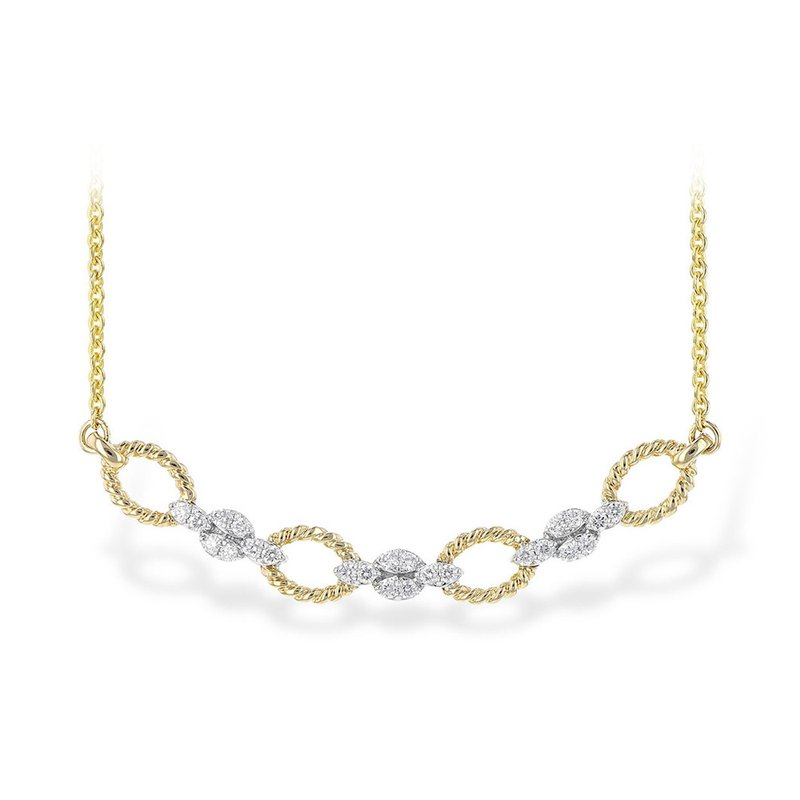 """King's 14kt Yel/Wh Necklace Rope Links with Diamond Stations 18"""""""