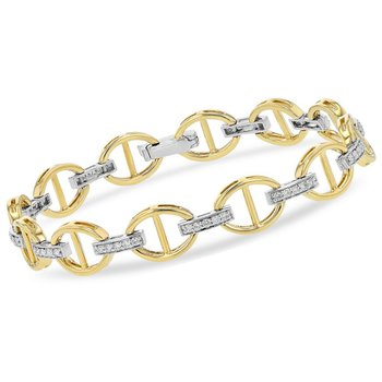 Oval Link Bracelet with Diamonds