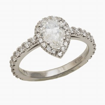 Plat Pear Shape Diamond Ring w/Halo 1.01ct Diam