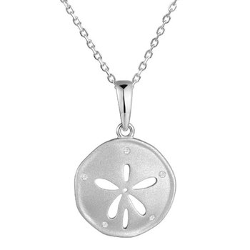 "Wh Gold Sand Dollar Pendant .04tw 18"" Chain"