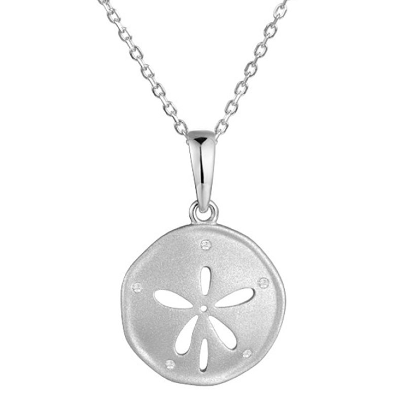 """King's Wh Gold Sand Dollar Pendant .04tw 18"""" Chain"""