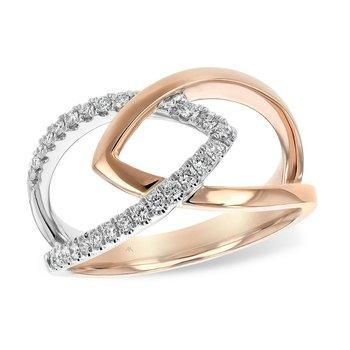Rose Gold Crossover Diamond Ring