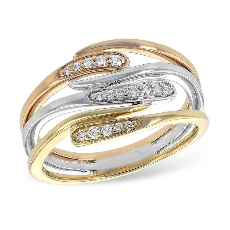 King's Tri-color Diamond Twist Ring