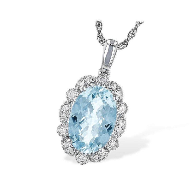 King's Oval Aquamarine and Diamond Pendant