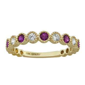 18kt Yel Ruby & Diamond Bezel Set Band