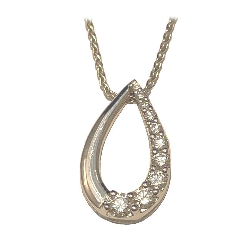 King's Estate 18kt Wh Gold Diamond Teardrop Pendant