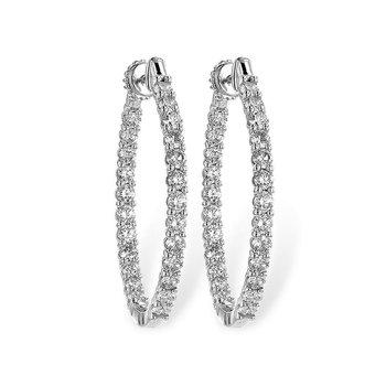 Oval Diamond Hoop Earrings  3.00tw