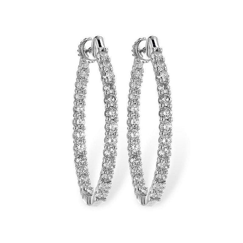 King's Oval Diamond Hoop Earrings  3.00tw