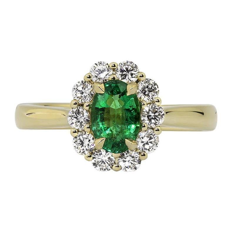 King's Oval Emerald and Diamond Halo Ring