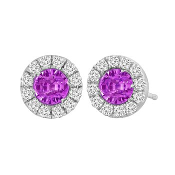 18kt Pink Sapphire and Diamond Halo Earrings