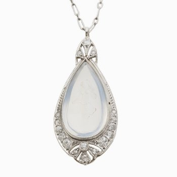 "Platinum Pearshape Moonstone w/Intaglio w/Diams & 15"" chain"