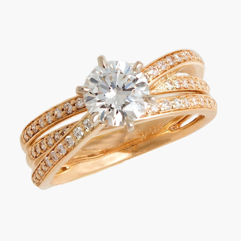 King's Bridal Diamond Engagement Ring 1.00ct  w/Triple Diamond Shank