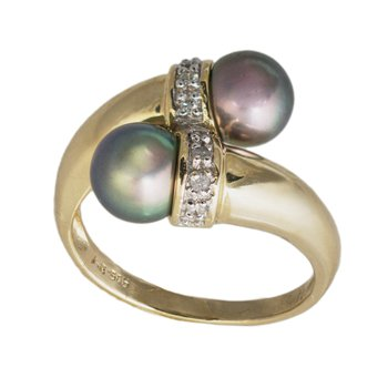 14kt Yel Two Black Pearl w/Diamond Bypass Ring