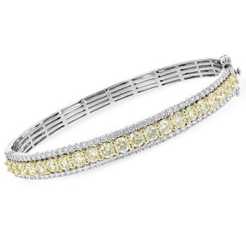 Yellow & White Diamond Bangle Bracelet
