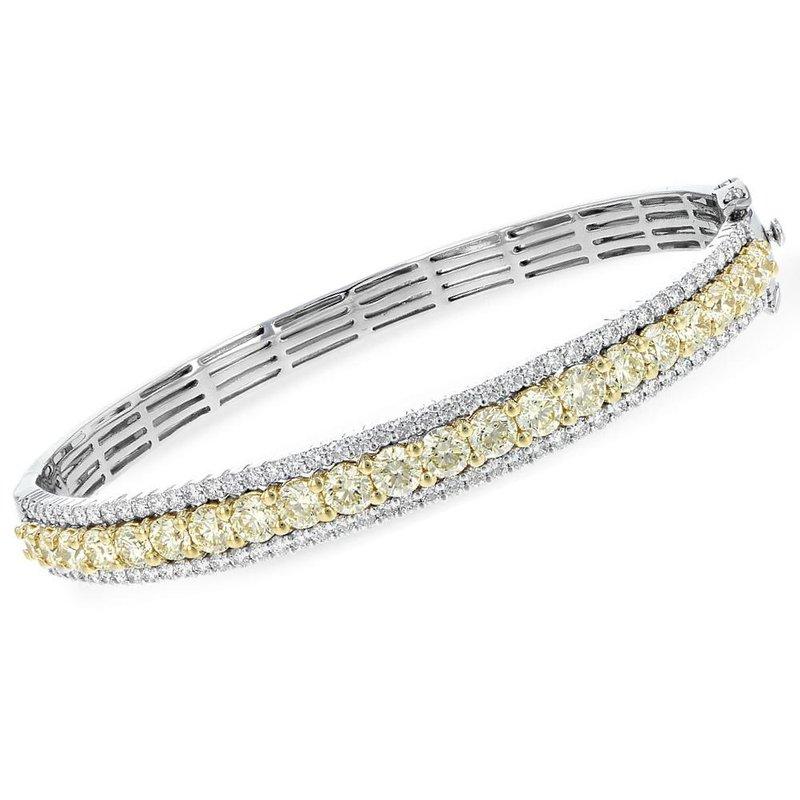 King's Yellow & White Diamond Bangle Bracelet