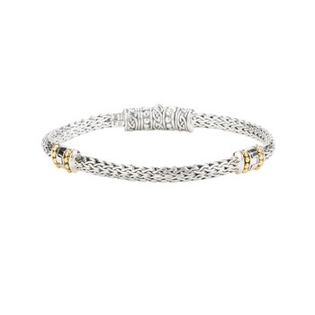 """""""Dragon Weave"""" Sterling & 18kt Eternity Bracelet"""