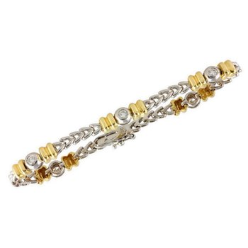 Gold Bracelet w/Bezel Set Diamonds