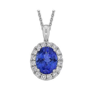 18kt Oval Tanzanite & Diamond Halo Pendant
