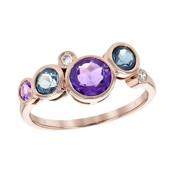 Rose Gold Amethyst, Blue Topaz and Diamond Ring
