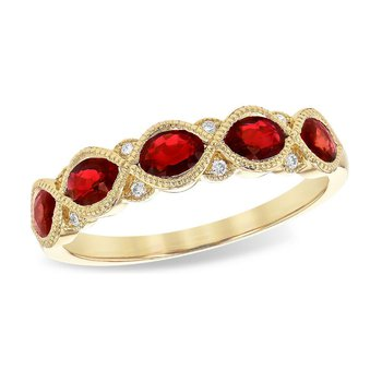 Oval Ruby & Diamond Band