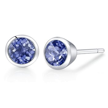 Round Tanzanite Earrings Bezel Set
