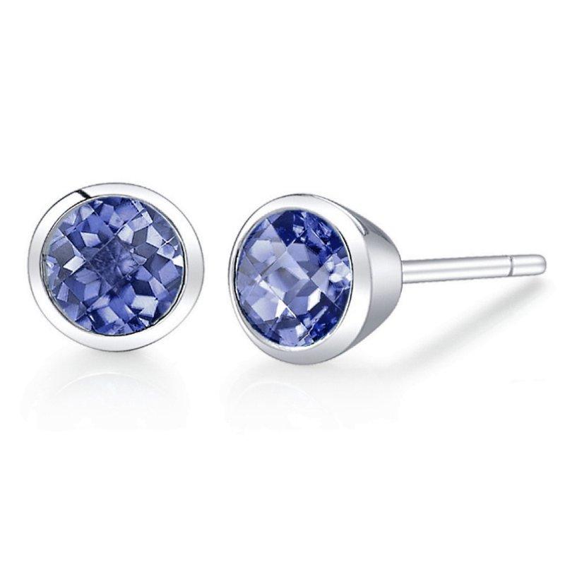 King's Round Tanzanite Earrings Bezel Set