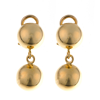18kt Yel Double Ball Dangle Earrings