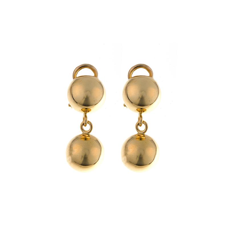 King's 18kt Yel Double Ball Dangle Earrings